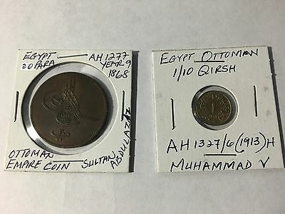 Lot of 2 Egypt Ottoman 20 Para and 1/10 Qirsh coins