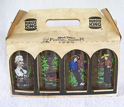 4 VINTAGE BURGER KING 1985 MARK TWAIN Country Festival Summer GLASSES W/CARRIER