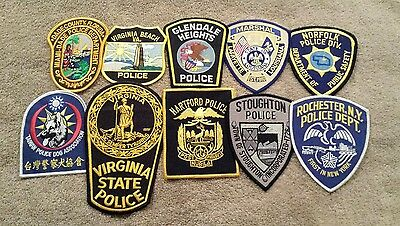 Lot of 10 Various U.S. Police Patches 12/16 - 001