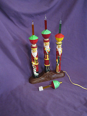 "3-SANTAS w/4-COLORS BUBBLE LIGHTS by DASHING ELECTRIC & PLASTIC CO. Approx. 14""+"