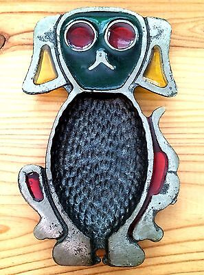 Vintage Metal Spoon Rest Dog Shape Colorful Stained Glass Style Red/Green/Yellow