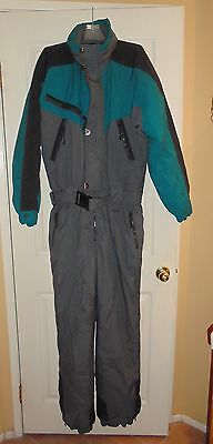 SKITIQUE Insulated One Piece Green Gray Snow Ski Suit Men XL