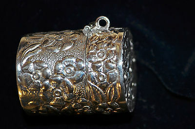 Sterling silver cannister pill box, repousse floral design, pendant,Thimle box
