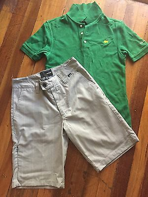 Boys Masters Golf Polo And Hurley Shorts, Size 12