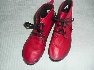Stegman Red Vintage Soft Red Leather Boots - Ladies