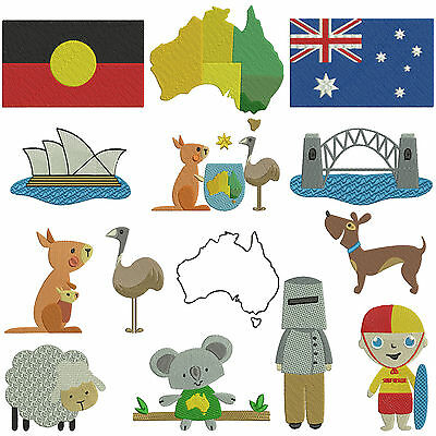 * AUSTRALIA 1 * Machine Embroidery Patterns * 14 designs in 2 sizes