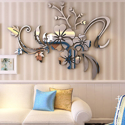 3D Mirror Floral Art Vinyl Removable Wall Sticker Acrylic Decal Home Decor DIY