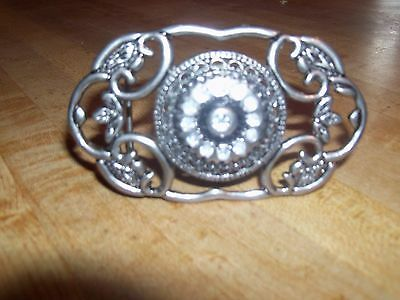 Art Deco silver tone Filigree Belt BUCKLE with stones in the center