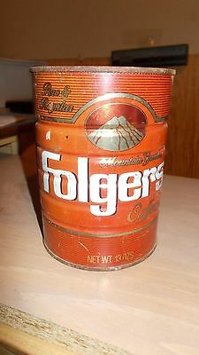 Vintage Metal Empty Folgers Coffee Can