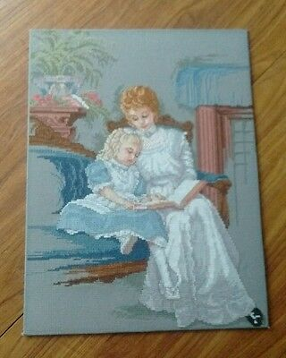 Completed Cross Stitch Mother And Daughter Picture