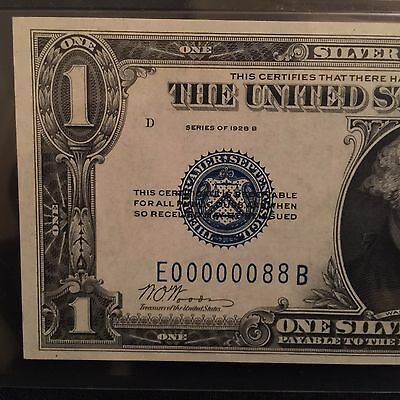 """1928B $1 Silver Certificate """"Funny Back"""" FR.1602 PMG 65EPQ Rare Serial Number 88"""