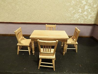 dolls house pine kitchen table and 4 chairs 1.12th scale