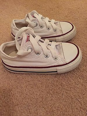 White Toddler Converse Trainers Excellent Condition Size 6