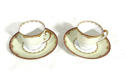 2 Meito China James Japanese China Demitasse Cups And Saucers
