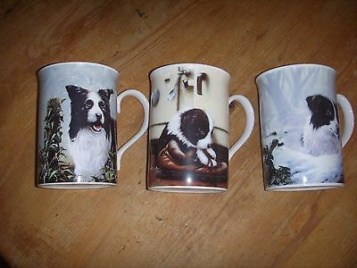 3 x Danbury Mint Border Collie Dog Mugs by John Silver
