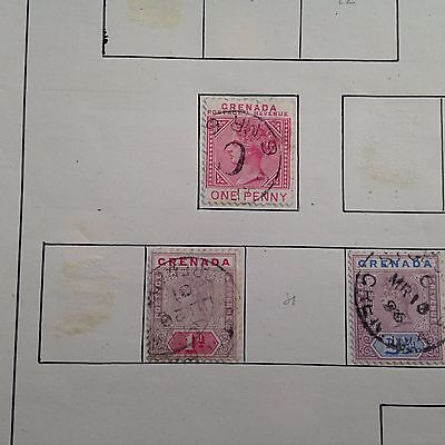 Grenada used stamps on album pages direct from old French estate