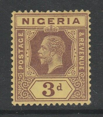 1914 NIGERIA 3d PURPLE ON YELLOW STAMP – MLH