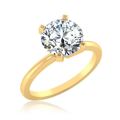 Wedding 2.00 Ct Diamond 14kt Yellow Gold Unique Round Solitaire Engagement Ring