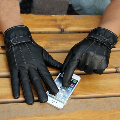 Pu Mens Women Touch Screen Gloves Leather Thermal Lined Black Driving Winter