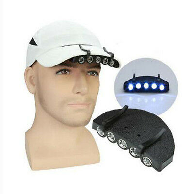 Clip-On 5 LED Head Lights Lamp Cap Hat Camping Torch with Clip Hand New
