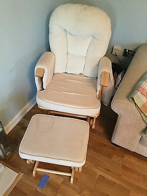 Habebe Glider Chair & Stool – Beech Wood & Cream Washable Covers