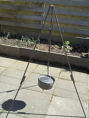 Camp Fire Camping Cooking Tripod + Dutch Oven Bush Craft collapsible