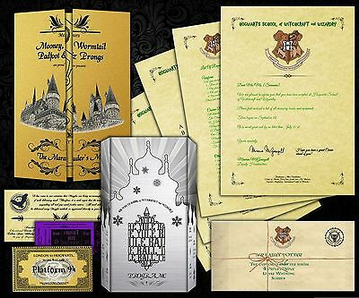 Harry Potter PERSONALISED Hogwarts Acceptance Letter + Maps + Tickets + MORE