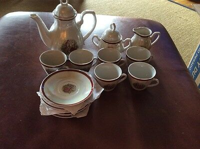 English Childs tea set of  15  with basket
