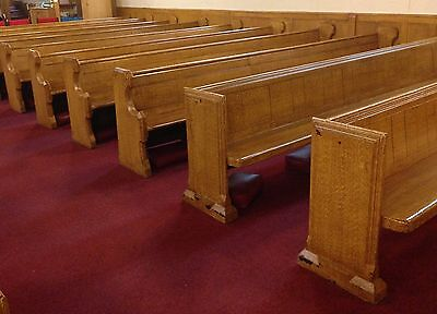Reclaimed vintage antique wooden church pews, 4m, several available