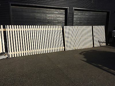 2 x steel gates with cypress pickets - 1 x 1.1, 1 x 2.1m and 3.3m picket fence