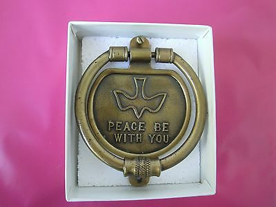"""Vintage brass door knocker """"Peace Be With You"""" solid christian dove Cph Antique"""