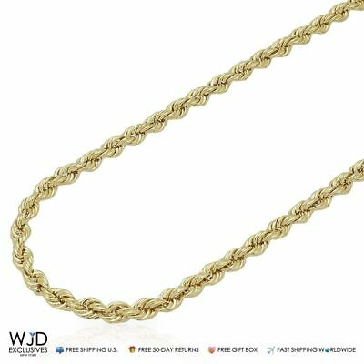 10K Real Yellow Gold 4mm Thick Rope Link Chain Necklace 18""