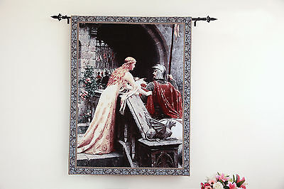 "The Godspeed Medieval Knight Art Tapestry Wall Hanging Cotton Woven 39"" x 55"""
