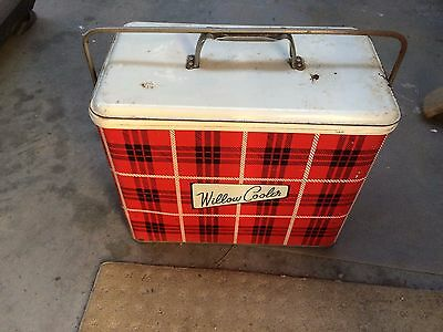 vintage willow tin cooler with metal tray and plastic tray