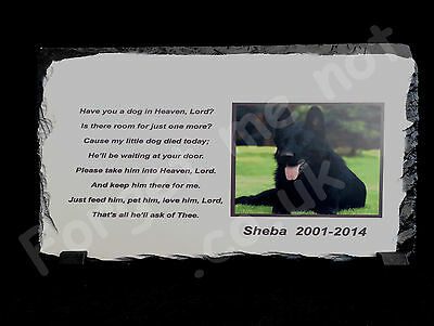 Pet Dog Cat Personalised Photo Memorial Slate Plaque with poem
