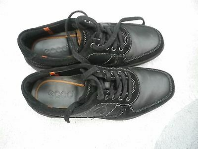 Ecco Nubuck Leather & Suede Casual Lace-Up Shoes Black-Value!!