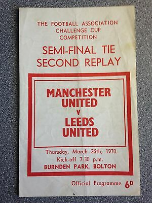 Manchester United vs. Leeds United programme. FA Cup SF second replay 1969-70.
