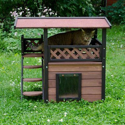 Outdoor Cat House for Winter with Door Terrace Roof Bed Den Wood Sleeping Hiding