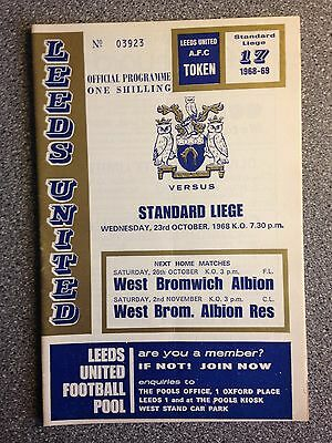 Leeds United vs. Standard Liege programme. Fairs Cup 1968-69.