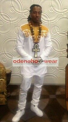 Odeneho Wear Men's White Polished Cotton/Gold Embroidery. African Clothing.