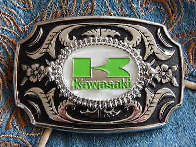 New Hand Crafted Kawasaki Motorcycle Belt Buckle,silver Metal Mother Of Pearl