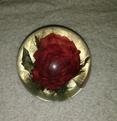 Glass single red rose  paperweight by Hafod Grange