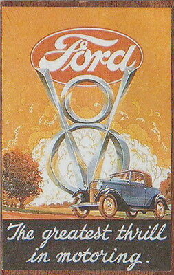 FORD CARS MOTOR COMPANY COMMERCIAL Wooden Fridge Magnet Rock Merchandise