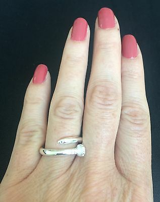 New Women Sterling Silver 925  Sideways Screw Nail Band Solid Ring Taxco Mx Sz 6