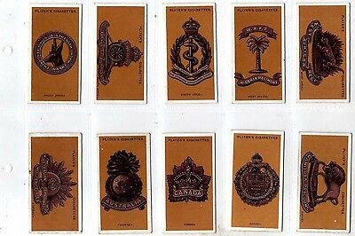 CIGARETTE CARDS Players 1917 Colonial & Indian Army Badges - In Sleeves (B4)