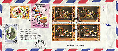 L 1631 Dominica 1980 airmail cover to UK; 7 stamps; a Donald Duck stamp used