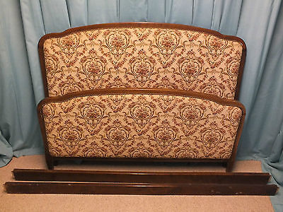 Vintage French upholstered bed original/found condition