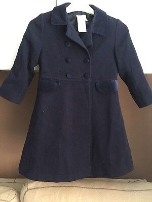 Laura Ashley Girls Navy Blue Vintage Mother And Child Coat 4-5 years