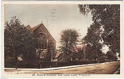 FINCHLEY - St Paul's Church - Long Lane - 1934 used London / Middlesex  postcard