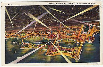 CHICAGO - Century of Progess Exhibition - Aerial View - 1933 used postcard
